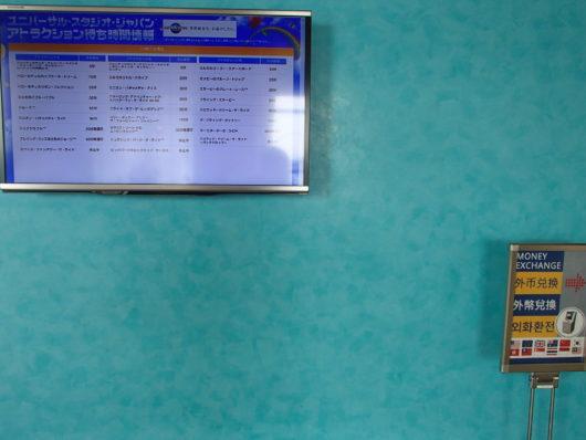 ホテルユニバーサルポート ユニバーサルスタジオのアトラクションの待ち時間が確認できる