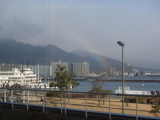 琵琶湖ホテル 朝食会場から見えた虹