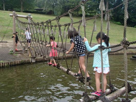 蓬山ログビレッジ 水上アスレチック遊具(吊り橋)