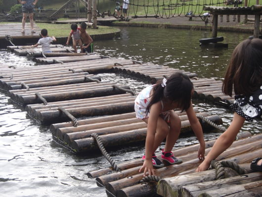 蓬山ログビレッジ 水上アスレチック遊具(渡りイカダ)